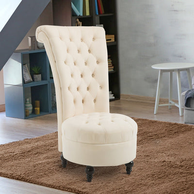 Retro High Back Armless Chair Living Room Furniture