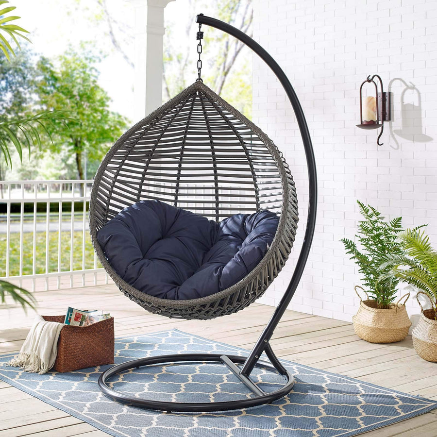 Modway Garner Outdoor Patio Wicker Rattan Teardrop Swing Chair in Gray Navy