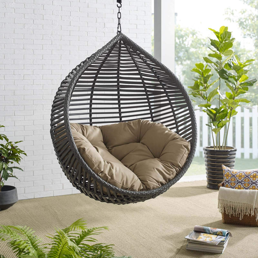Modway Garner Outdoor Patio Wicker Rattan Teardrop Swing Chair in Gray Mocha
