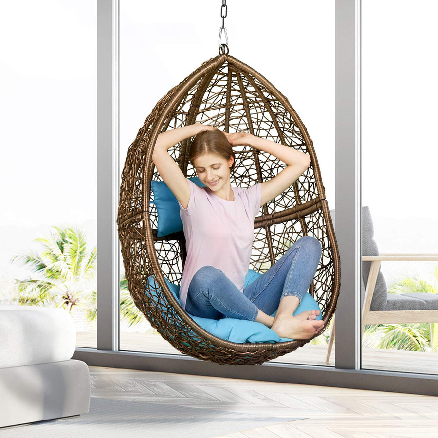 Greenstell Rattan Wicker Egg Hammock Chair with Hanging Kits: Black