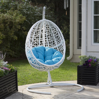 White Resin Wicker Hanging Egg Chair with Stand