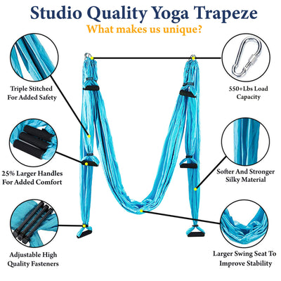 Sealed Products Aerial Yoga Swing - Premium Yoga Trapeze Set for Aerial Yoga Hammock Activities - Swing for Balance Flexibility and Back Pain Relief - Daisy Chains Included