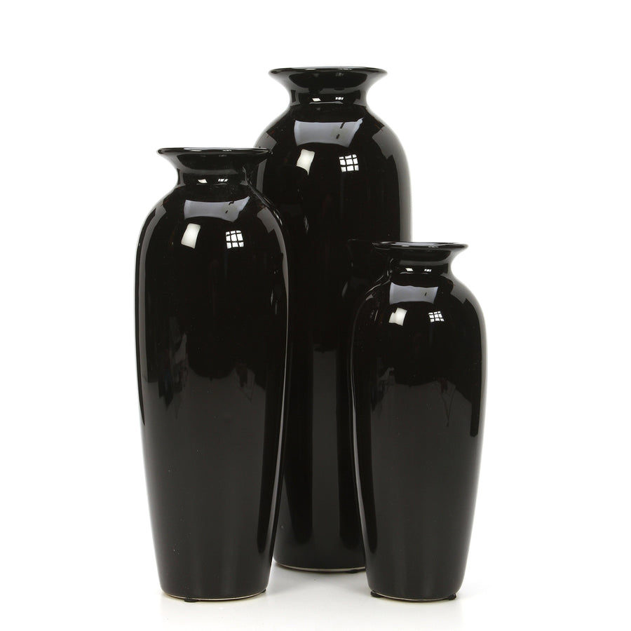 Hosley's Set of 3 Black Ceramic Vases in Gift Box