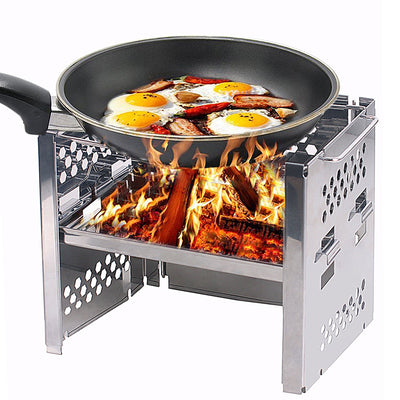 Unigear Wood Burning BBQ Cooker/Potable Folding Stainless Steel Backpacking Stove