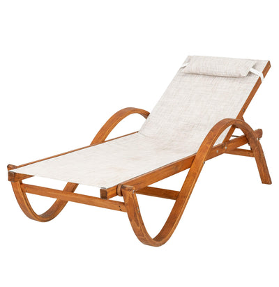 Leisure Season RCL1127 Reclining Sling Chaise Lounge - Brown - 1 Piece - Outdoor Seating and Patio Furniture with Adjustable Back and Ergonomic Arm Rest - Lawn, Poolside and Beach Chair for Sunbathing
