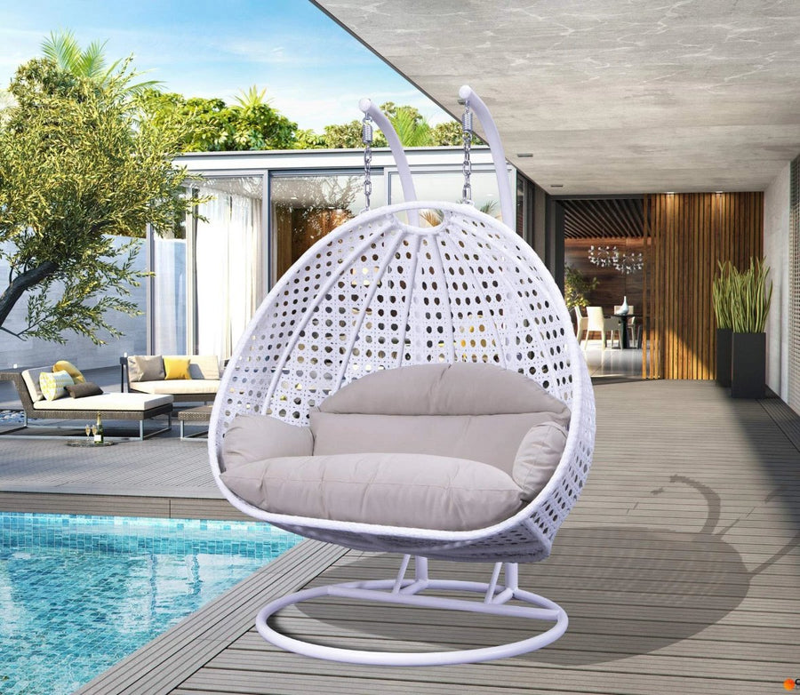 LeisureMod Wicker 2 Person Double Hanging Swing Egg Chair: White Beige
