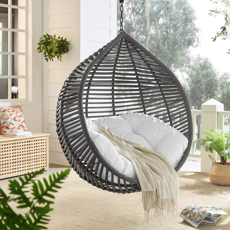 Modway Garner Outdoor Patio Wicker Rattan Teardrop Swing Chair in Gray White