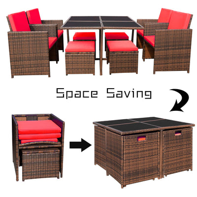 Devoko 9 Pieces Patio Rattan Dining Sets