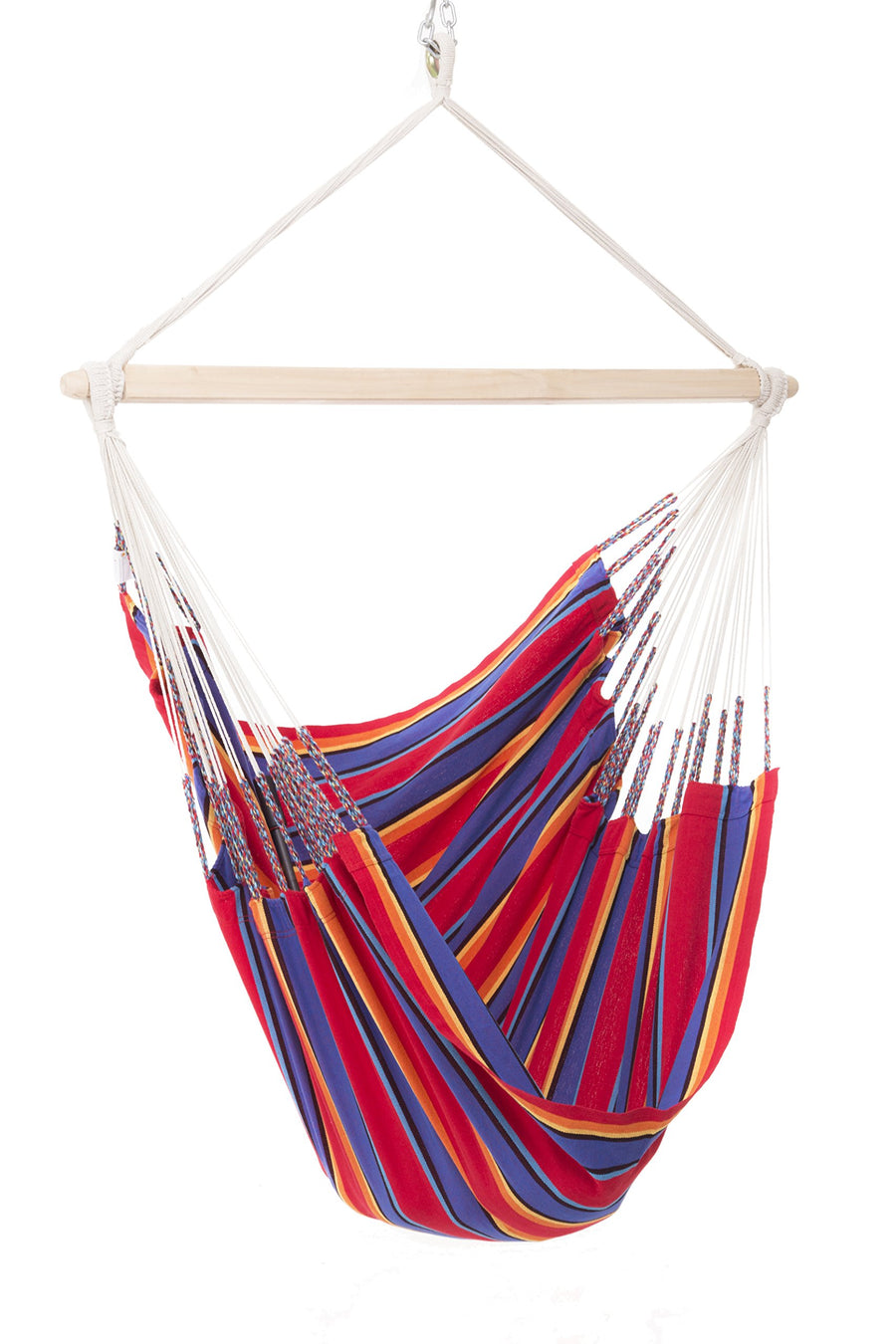 Natural Cotton Cloth Colombian Hammock Chair: Red and Blue Stripe