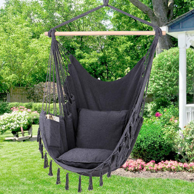 Y- STOP Hammock Chair Hanging Rope Swing: Gray