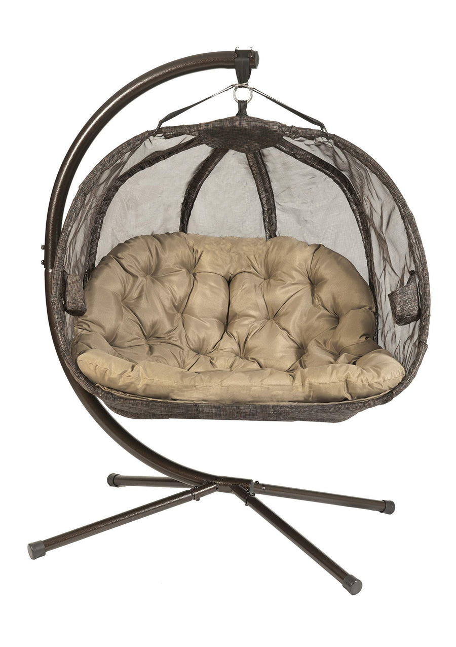 Flower House Hanging Pumpkin Loveseat Chair with Stand: Espresso