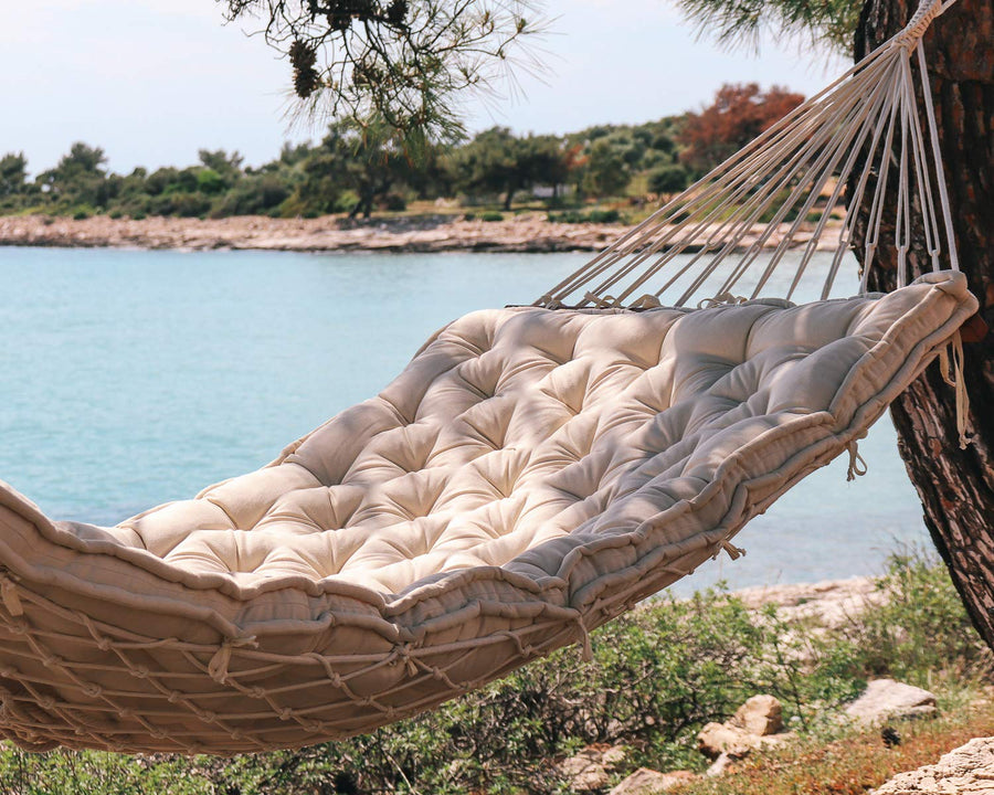 Handmade Boho Hammock Cushion with Cotton Rope Hammock