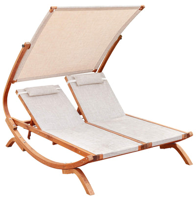 Leisure Season Double Reclining Lounge Chair with Canopy: Brown