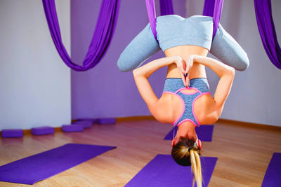 Aerial Yoga Hammock Fabric, Carabiners, Extension Strap: Purple
