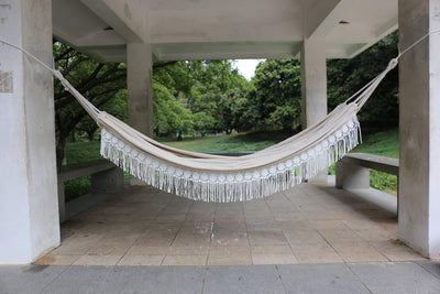 2 Person Brazilian Fringe Hammock with Tree Rope and Bag