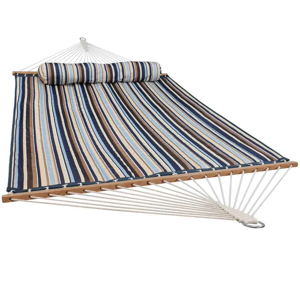 Sunnydaze Quilted Fabric Hammock Two Person with Spreader Bars