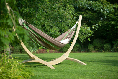 LA SIESTA Flora Chocolate Organic Cotton Kingsize Hammock with Canoa Wooden Stand