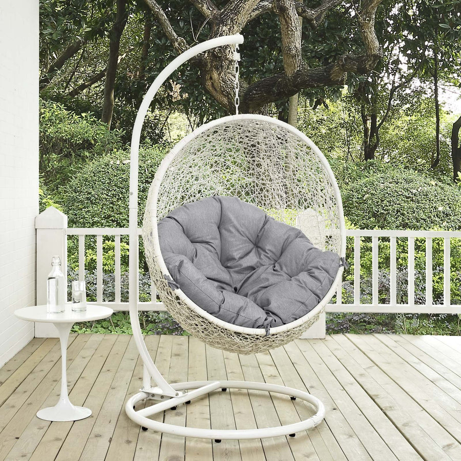 Modway Hide Wicker Rattan Outdoor Patio Porch Lounge Egg Set: Gray