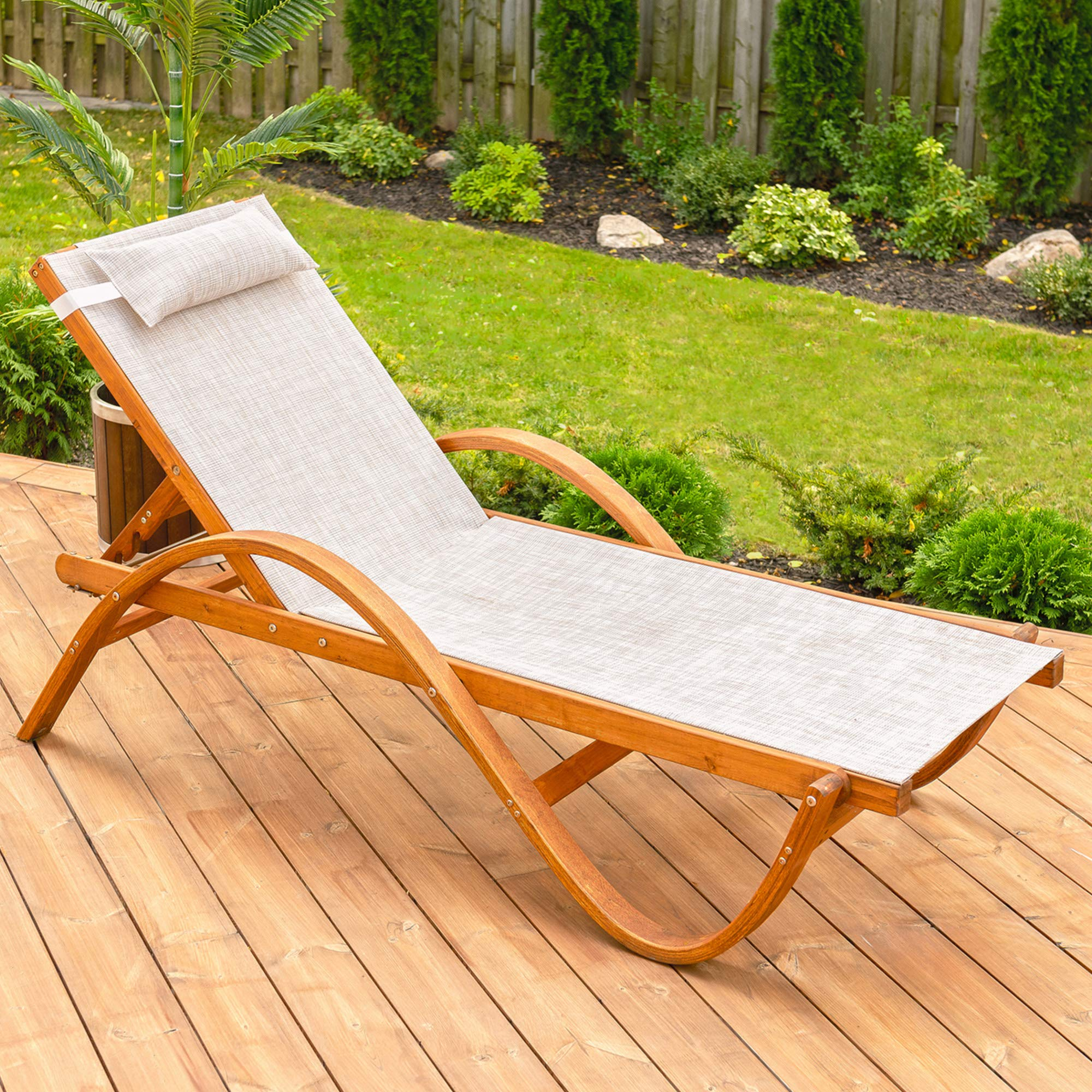 - Leisure Season RCL1127 Reclining Sling Chaise Lounge - Brown - 1