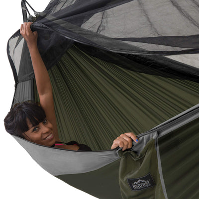 Everest Double Camping Hammock with Mosquito NetGray/Green/Net Black