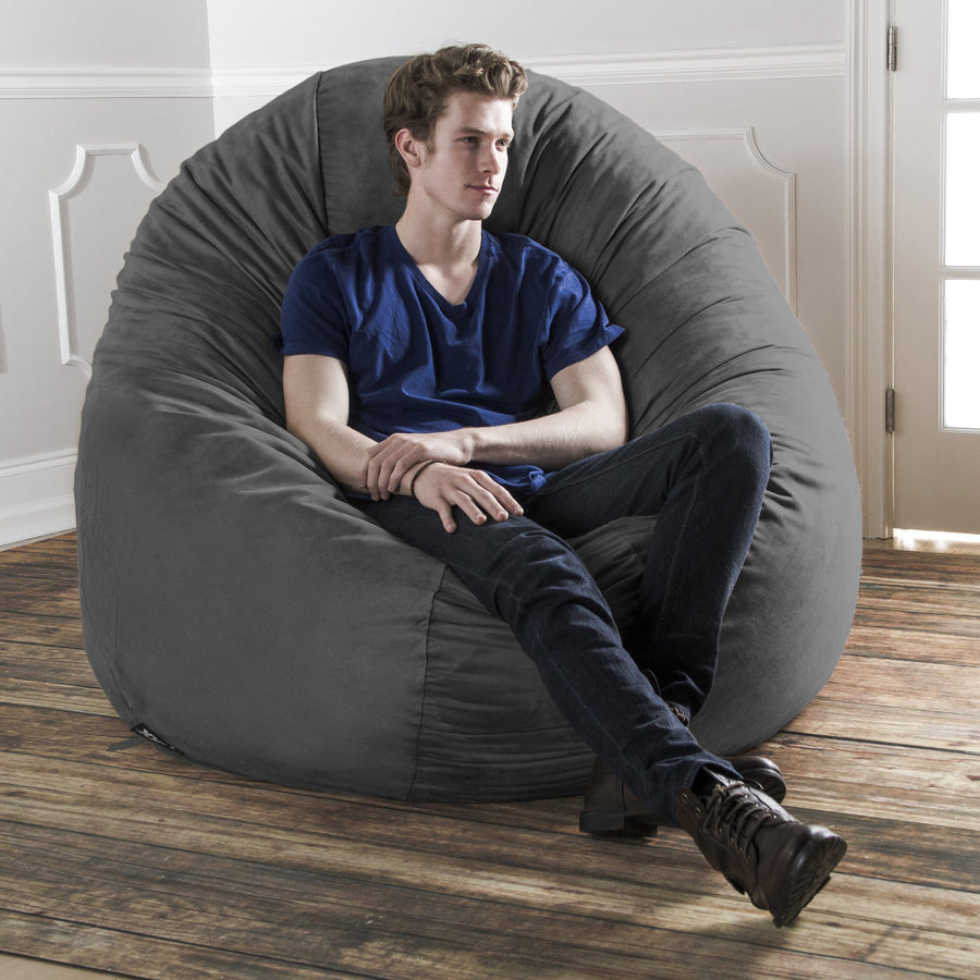 Jaxx 6 Foot Cocoon Large Bean Bag Chair for Adults: Charcoal
