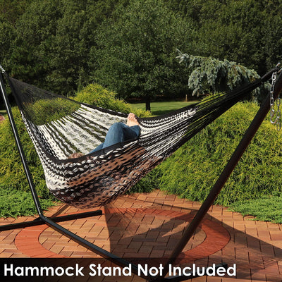 Sunnydaze Mayan Family Hammock Hand-Woven XXL Thick Cord, Heavy Duty 880-Pound Capacity, Black/Natural