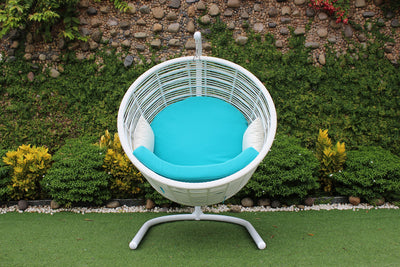 Bamboo Rattan Outdoor Hanging Basket Patio Lounge Chair