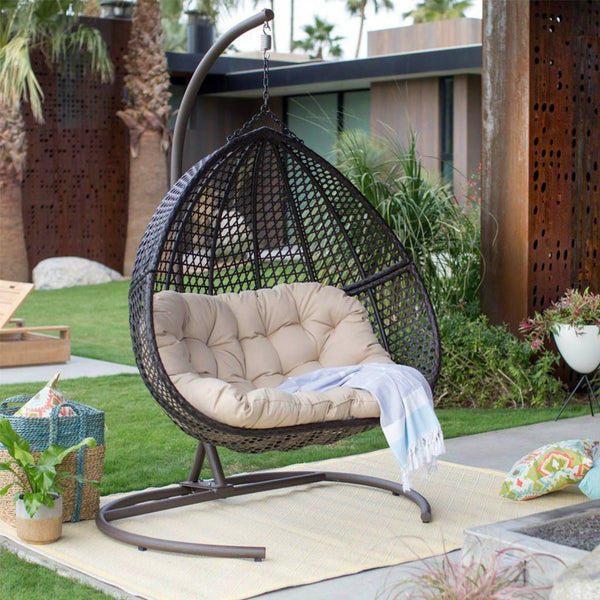 outdoor hanging chair hanging egg chair loveseat for luxury outdoor patios 11259