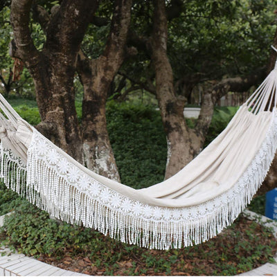 Langjitianya 2 Person Brazilian Fringe Hammock with Tree Rope and Bag