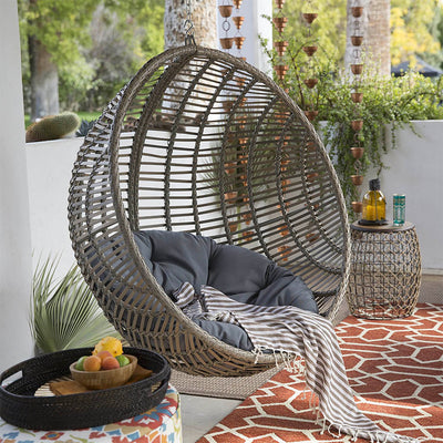 Remarkable Boho Chic Style Resin Wicker Hanging Egg Chair Home Interior And Landscaping Ologienasavecom