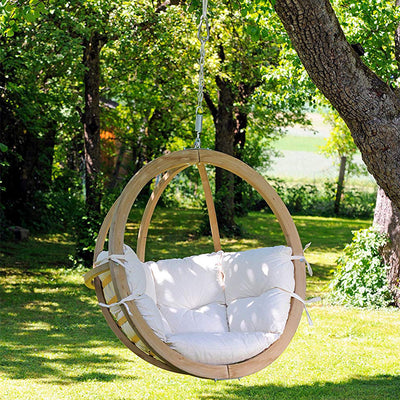Globo Swing Hanging Chair: Natural Agora with Soft Cushion