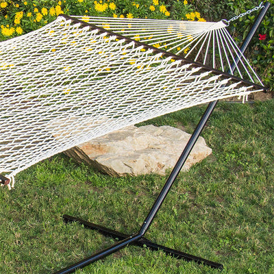 Cotton Rope Double Hammock with Spreader and Case: White