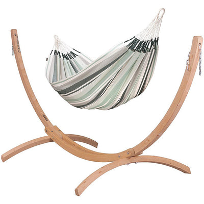 LA SIESTA Cotton Double Classic Hammock with Sustainable Wood Arc Stand
