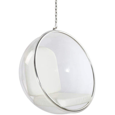 Fine Mod Imports Bubble Hanging Chair, White