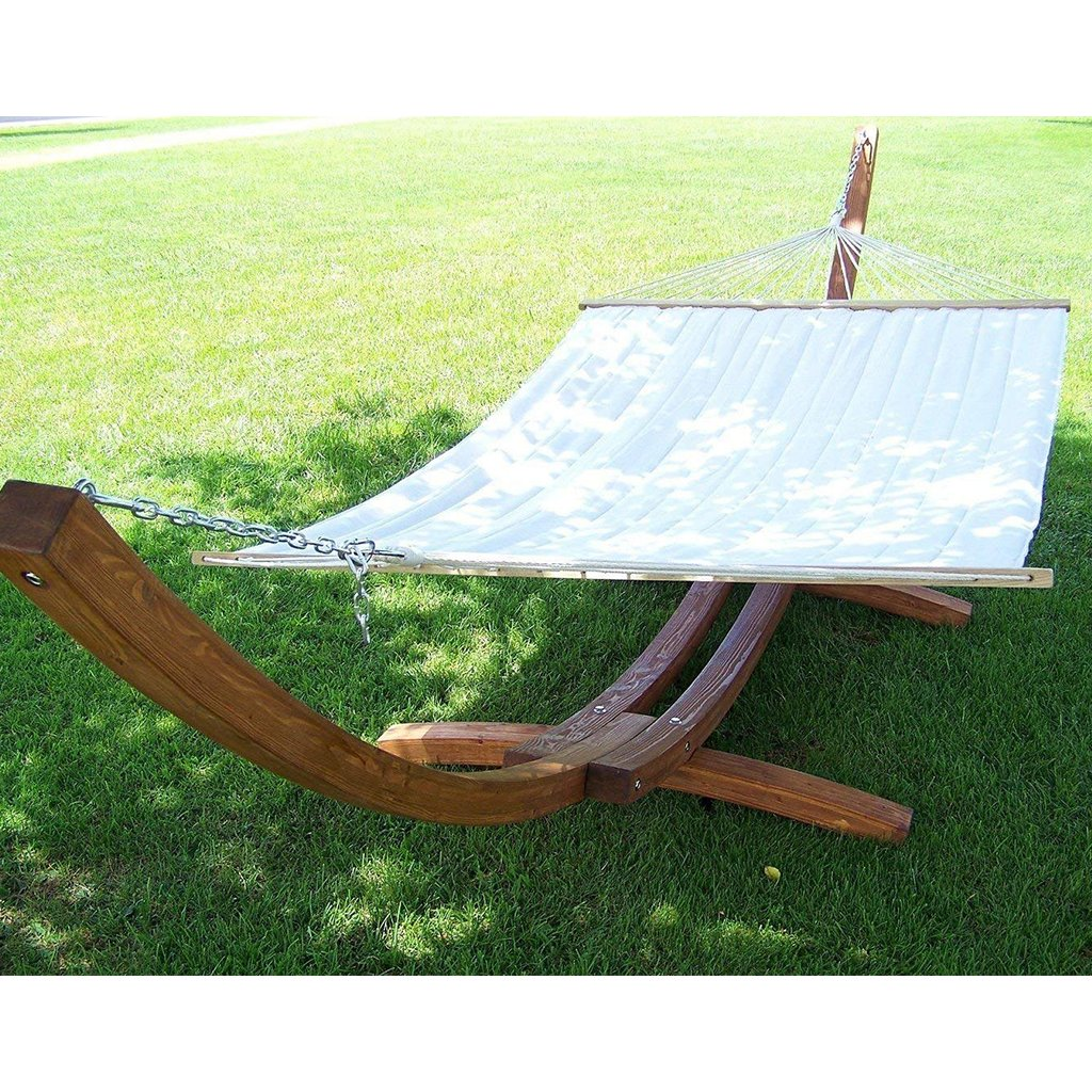 Wooden Arc Hammock Stand with Quilted Hammock Bed | Petra Leisure