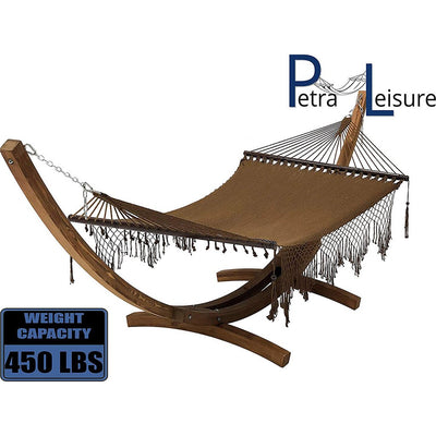 Wooden Arc Hammock Stand with Hand Woven Bohemian Chic Rope Hammock Bed
