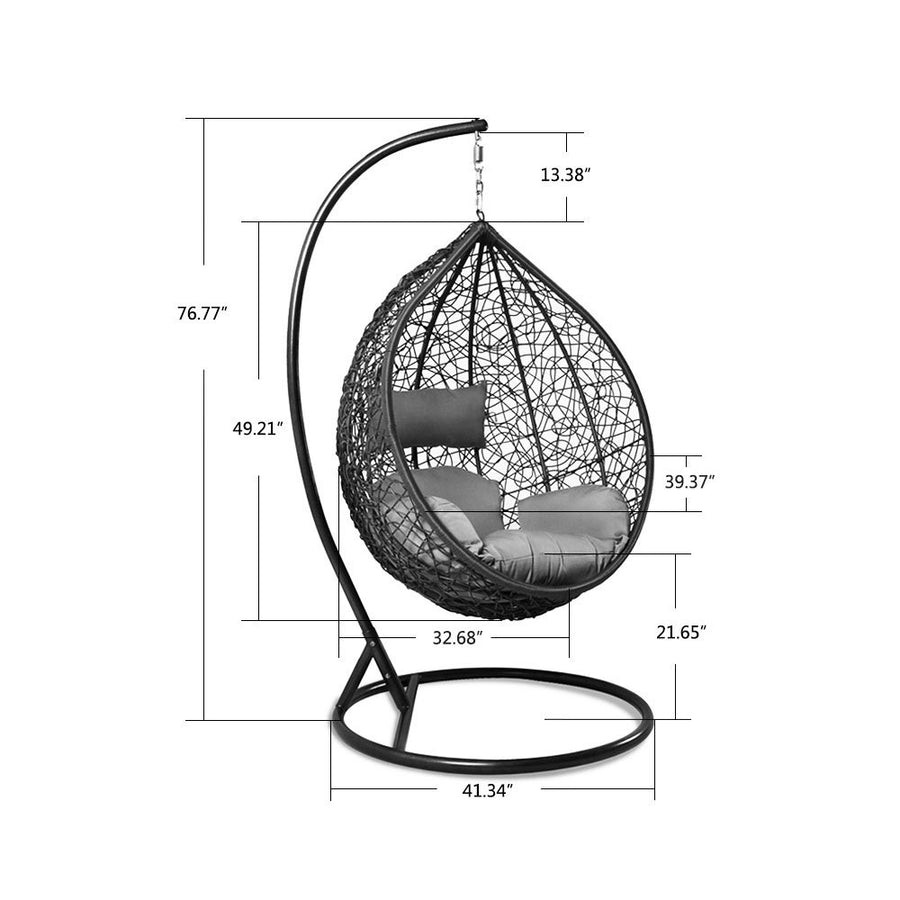 Outdoor Rattan Hanging Egg Chair with Bronze Stand