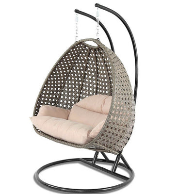 Wicker Swing Chair with Stand for Two People