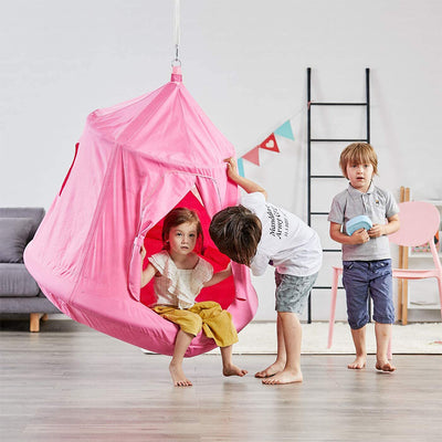 Kids Outdoor Waterproof Play Tent Hanging Hammock with Lights String (Pink)