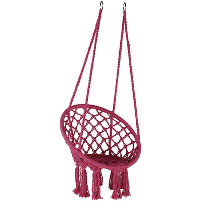 Kids Macrame Hanging Hammock Chair: Pink