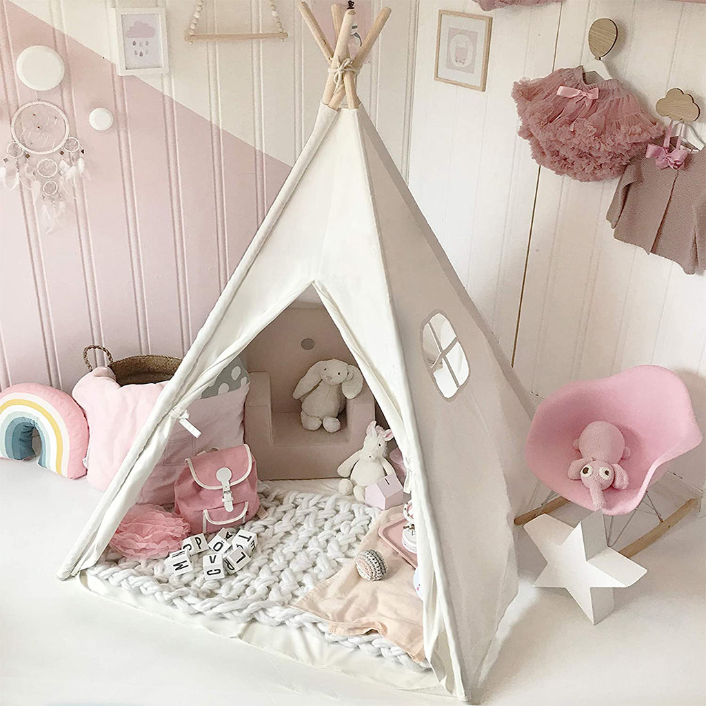 Kids Teepee Tent with Padded Mat & Light String& Carry Case
