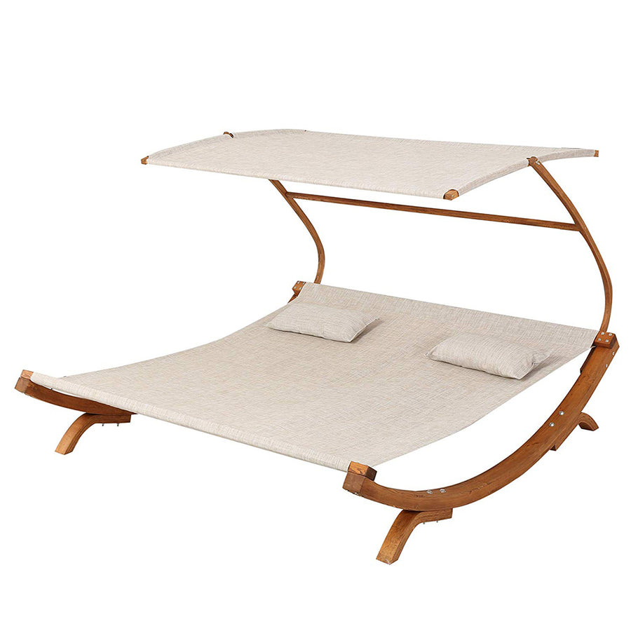 Outdoor Patio Lounge Daybed Hammock With Adjustable Shade Canopy
