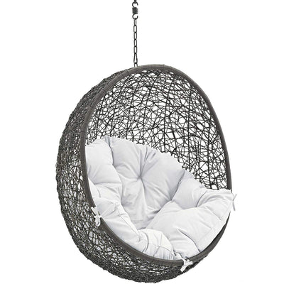 Modway Hide Outdoor Patio Swing Chair Without Stand, Gray White