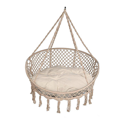 Patio Macrame Hanging Hammock Chair with Pillows - Canvas White