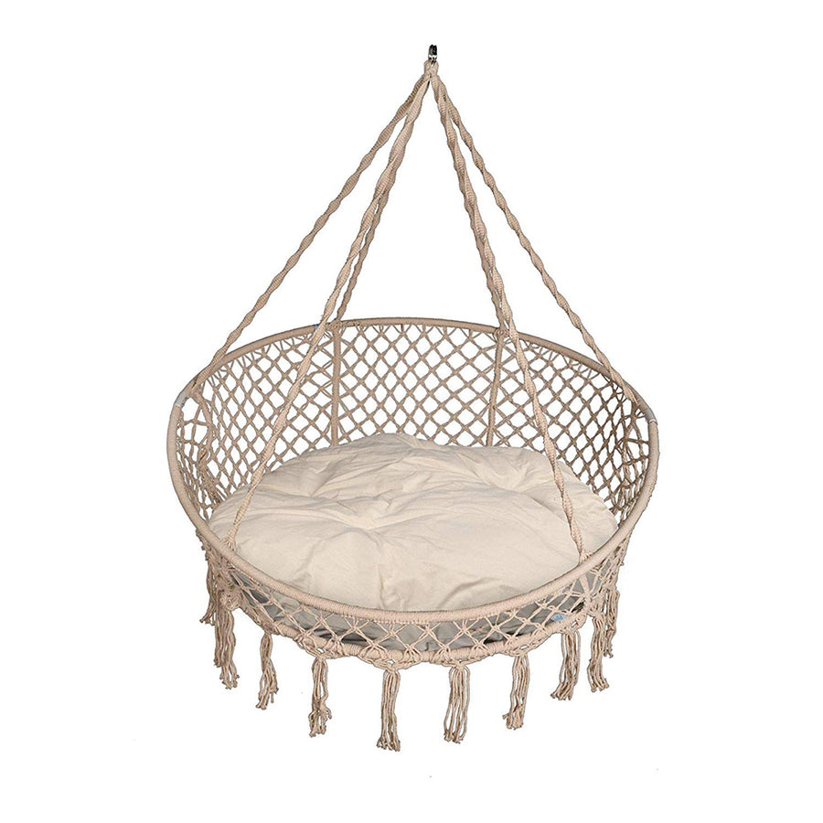 Patio Macrame Hanging Hammock Chair With Pillows   Canvas White
