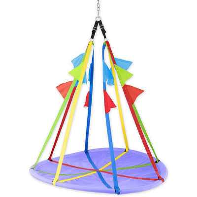 HearthSong Rainbow Flag Giant Outdoor Platform Tree Swing for Children
