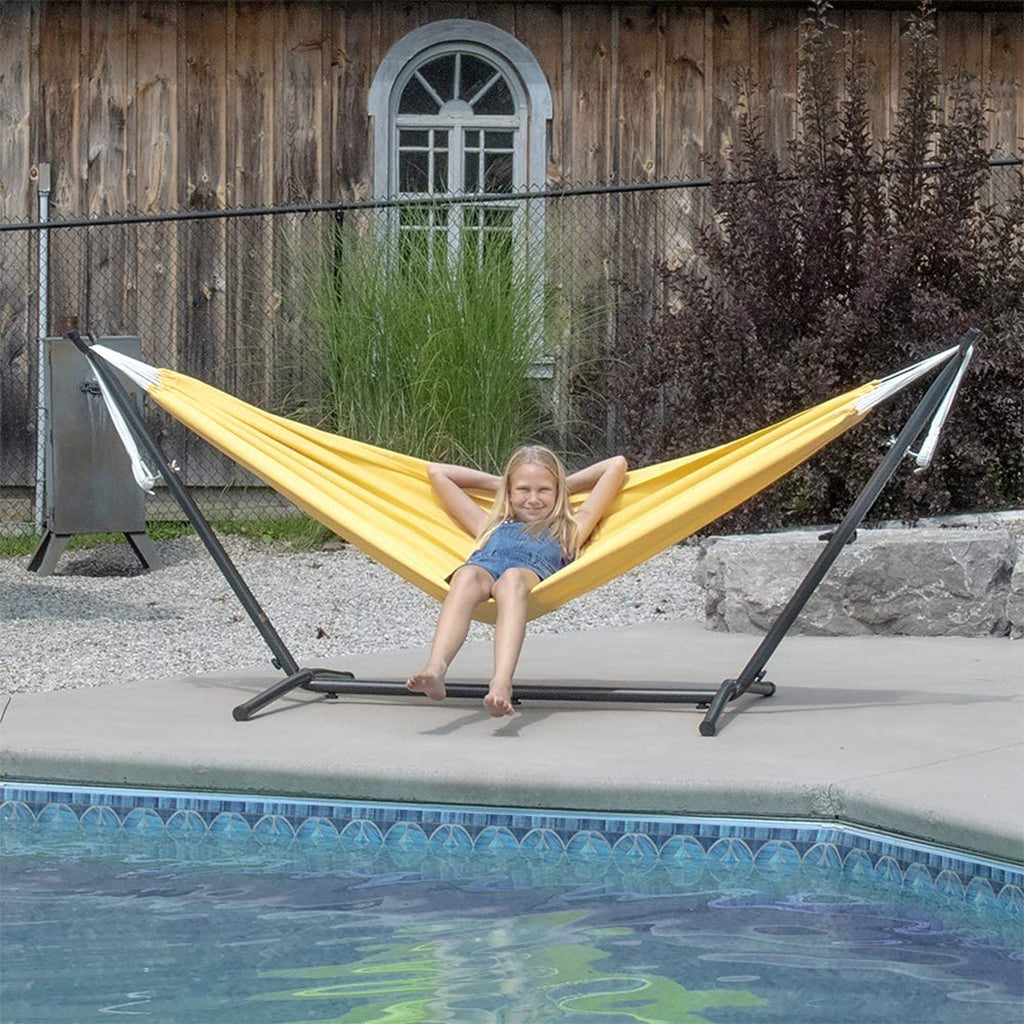 Vivere Double Polyester Hammock with Space Saving Steel Stand: Yellow