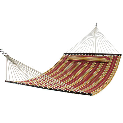 Quilted Double Hammock with Pillow and Spreader Bar: Burgundy