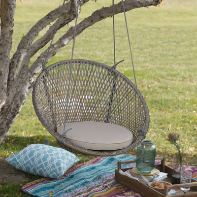 Resin Wicker Single Swing Chair With Seat Pad Rope