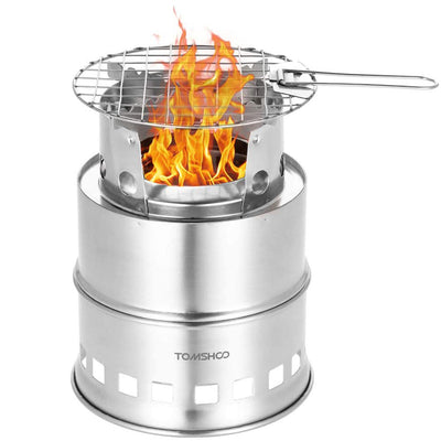 TOMSHOO Wood Stove Portable Foldable Stainless Steel Burning Stove
